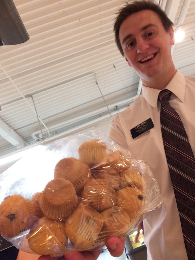 Elder Rahlf with some really small chocolate chip muffins!