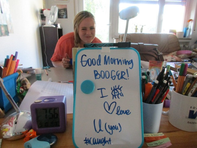 White board messages with Sister Fenton
