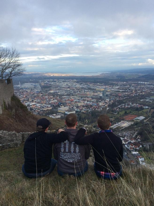 Elders Tholen, Sorenson, and Liechty pondering at Hohentwiel