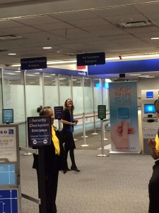 Megan going through security - mission bound!