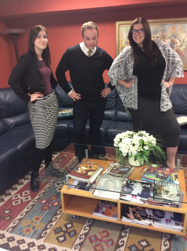 Elder Bakewell, Sister Crake, and Sister Zarse goofing around