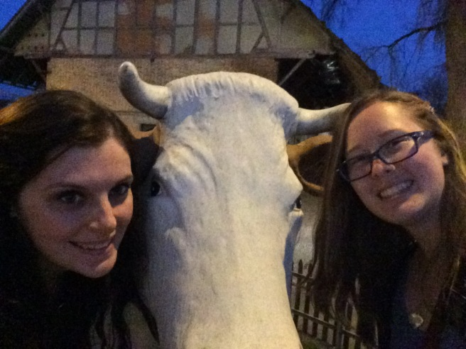 Megan and Sister Crake with a big cow statue