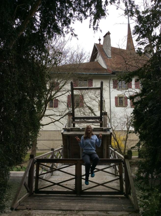 Megan on a real life original drawbridge
