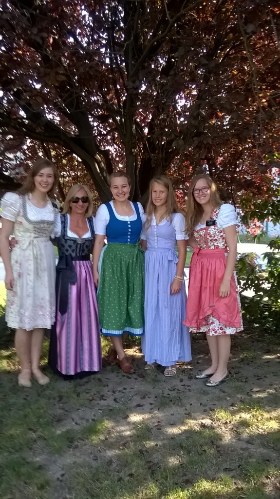 Wearing our Dirndl´s to church!