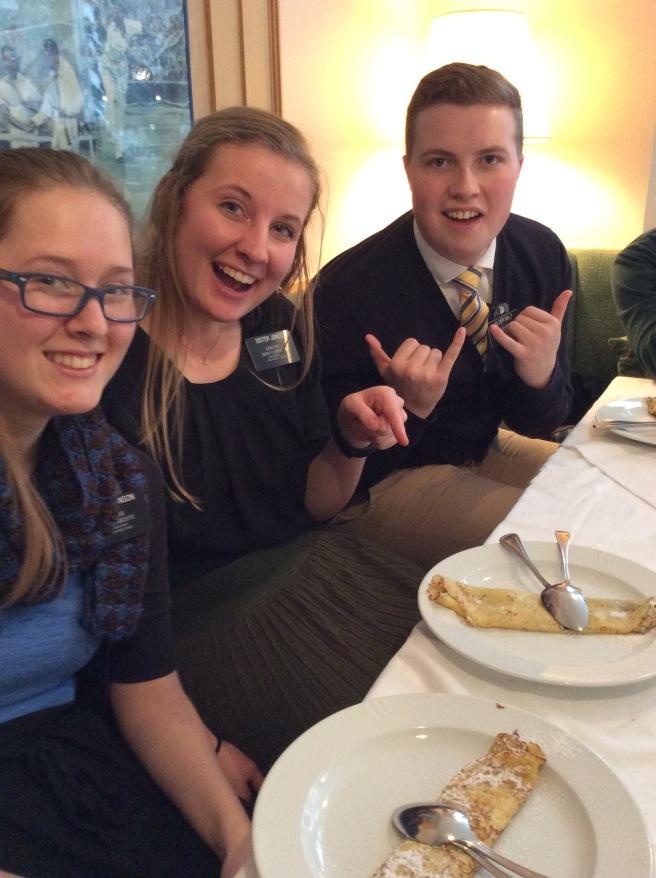 Us with Elder Bolt at the Van Rozan lunch! We had Palatschinken!