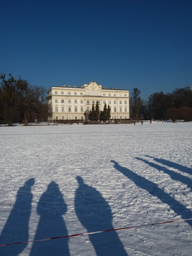 Sound of Music house! We are literally standing on a lake!""