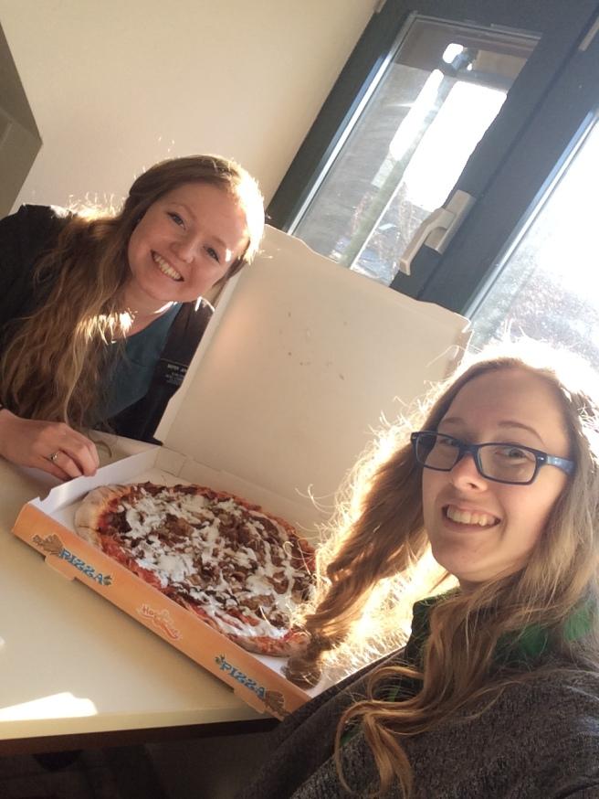 Sister Jenson and I eating a Dürner Pizza!!