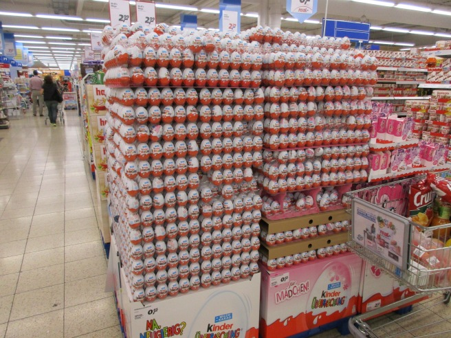 Kinder eggs at the store