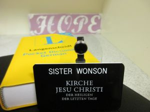 Sister Wonson's Missionary Nametag!