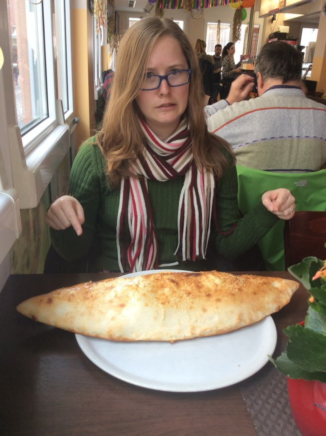 Megan eating a Seele in Radolfzell